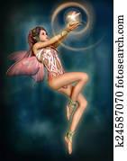 Fairy with glowing Bird, 3d CG