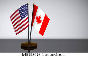 US Flag And Canadian Desk Flags