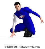 Blue Super Hero saving th
