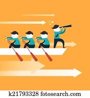 flat design for team work concept
