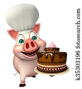 Pig cartoon character with chef hat and cake