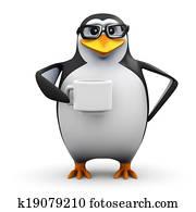 3d Penguin student tea break