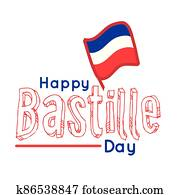 bastille day lettering with flag hand draw style