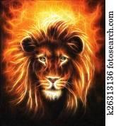 Lion close up portrait, lion head with golden mane, beautiful