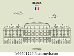 Opera House in Rennes, France. Landmark icon