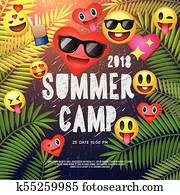 Themed Summer Camp poster, with emoji smile faces, vector