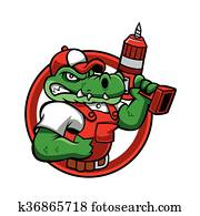 Cartoon angry crocodile mascot.