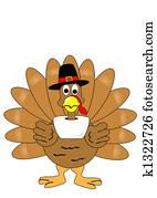 Isolated turkey with pilgrim hat
