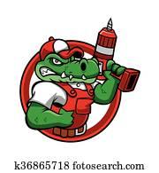 karikatur, zornige, krokodil, mascot.