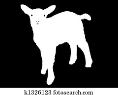 White on black silhouette of a lamb