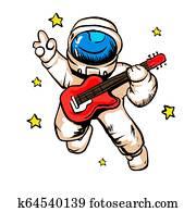Cartoon astronaut with guitar