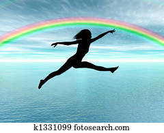Jumping woman in the rainbow