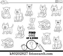 one of a kind task with cats coloring book page