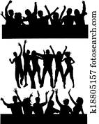 tanzen, personengruppe, 2