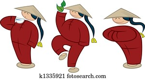 Three Chinese Tea Worker icons