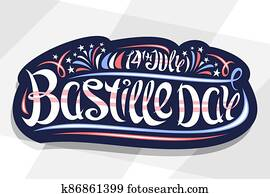 Vector greeting card for Bastille Day
