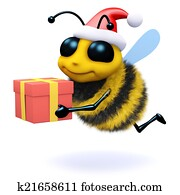 3d Honey bee holding a Christmas gift
