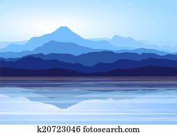 Blue mountains near lake