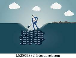 Business man digging a hole in the ground to search for useful information. Concept for data mining and business intelligence