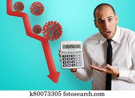 Businessman is worried due to economic recession and crisis. Coronavirus covid-19 pandemic problematic
