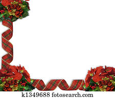 Christmas Border Ribbons and bauble