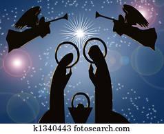Christmas Nativity Abstract Blue