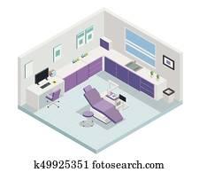 Modern Purple Isometric Dental Clinic Interior Design