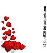 Valentine Falling Hearts border