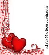 valentines tag, rot, herzen, umrandungen