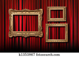 Red Stage Theater Curtains With 3 Hanging Gold Frames