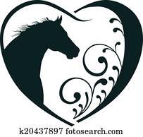 tierarzt, herz, pferd, love.