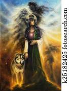A beautiful oil painting on canvas of a mystical fairy priestess