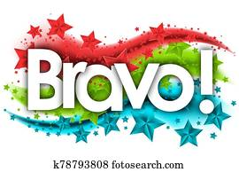 bravo word in stars colored background