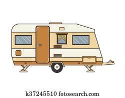 Camping trailer family caravan