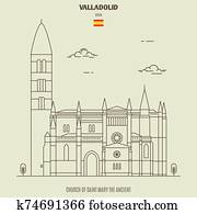 Church of Saint Mary the Ancient in Valladolid, Spain. Landmark icon
