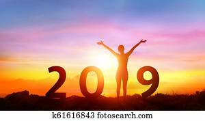 Happy New Year 2019 - Happy Girl With Numbers At Sunrise