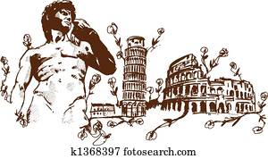 Italian Landmarks illustr