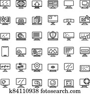 Monitor icons set, outline style