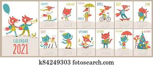 Vector 2021 calendar template with cats and foxes in kids cartoon style