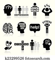 Depression, stress icons set