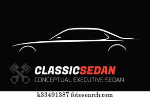 Executive sedan car Silhouette