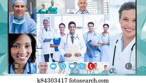 Healthcare workers during a video call during coronavirus covid19 epidemic
