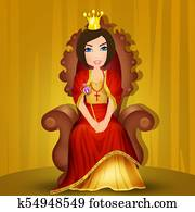 queen seated on the throne
