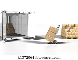 shipping box and container on white bacground