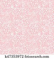 Vector gentle pastel pink lace roses seamless repeat pattern background. Great for wedding or bridal shower decor, invitations, gifts.