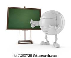 Volleyball character with blank blackboard
