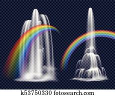 Waterfalls And Rainbows Decorative Elements