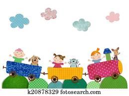 Children traveling by train