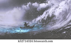 man in a boat in stormy sea
