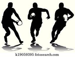 three rugby silhouette